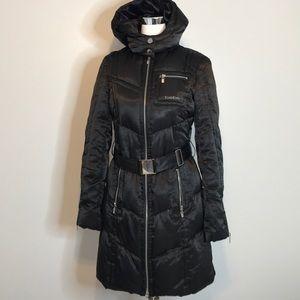 Bebe black satin quilted down filled coat